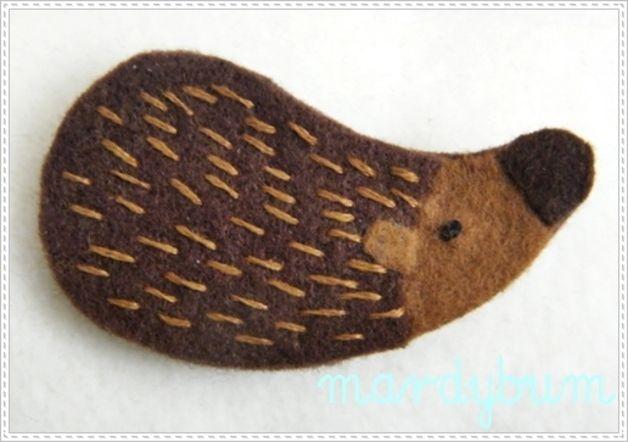 Broszka lisek haftowana ręcznie - mardy-bum - Broszki