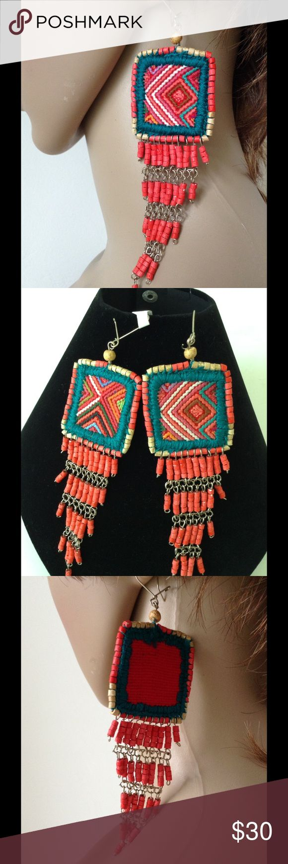 "Guatemala's Vintage tapestry Drop dangle earrings Statement earrings are the new necklace! Guatemalan's Ceremonials vintage inspiration, hand made earrings, crafted details: Cotton-yield thread multicolor tapestry, dangle fringe ceramic- clay beads, 6"" long, fish hook, nickel free. Color: multi-Coral- Teal tapestry & Coral dangle beads. unknown Jewelry Earrings"