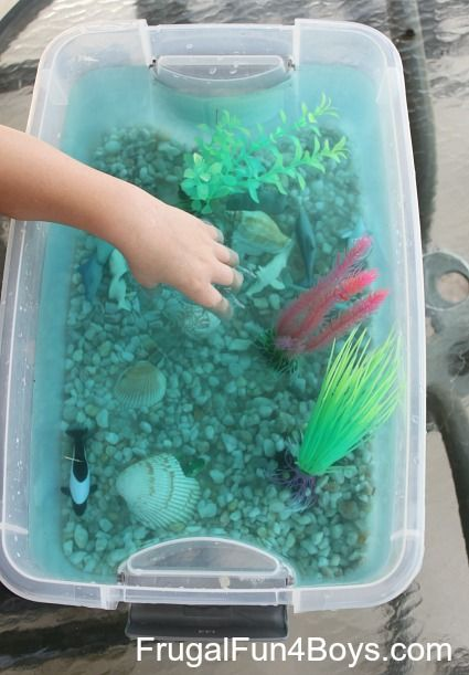 Ocean Tub Pretend Play - Frugal Fun 4 Boys  My boy would definitely enjoy this... may have to rethink the gravel at the bottom though.