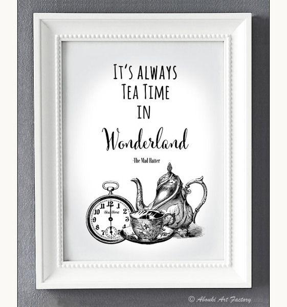 Kunstdruck A4 ALICE Wunderland Tea Time von ABOUKI Art Factory auf DaWanda.com