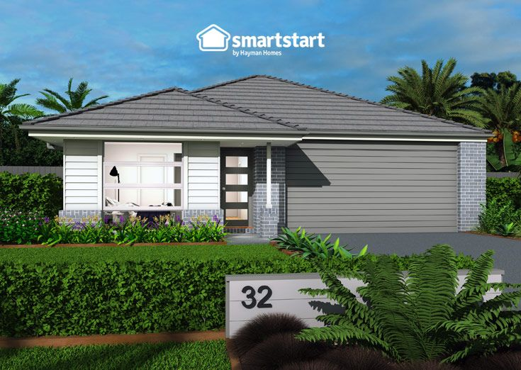 Seville with Dudley Facade   If you're looking for #streetappealideas, the Seville has got you covered. Beautiful mixed siding facade with a #frontentry to impress. #smartstarthomes #streetstyle #facade #facadehousesinglestorey