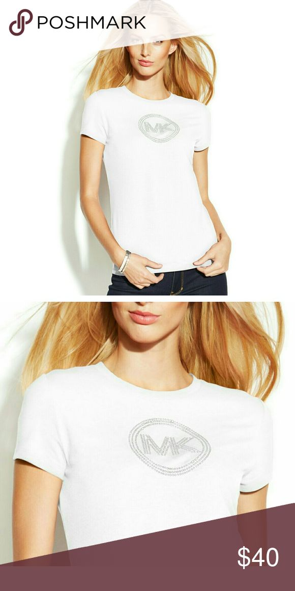 New! MICHAEL KORS MK Circle Logo White T-Shirt Top New With Tags! MICHAEL KORS Circle MK Logo Short Sleeve Tee  A flattering fit and stud-embellished logo take this MICHAEL Michael Kors tee beyond basic.  * Silver-tone stud-embellished MK logo at front * Crew neckline * Pullover style * Short sleeves * Cotton/elastane.  * Machine washable Michael Kors  Tops