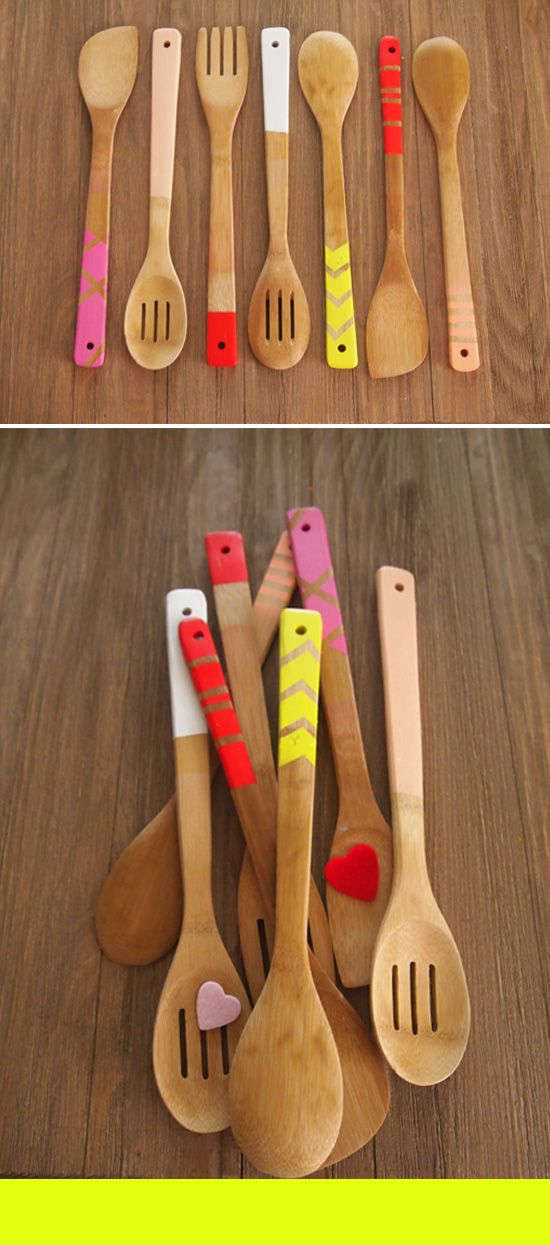 fun utensils: Gifts Ideas, Kitchens Ware, Paintings Decor, Kitchens Shower, Kitchens Utensils, Wooden Utensils, Kitchens Color, Paintings Spoons, Wooden Spoons