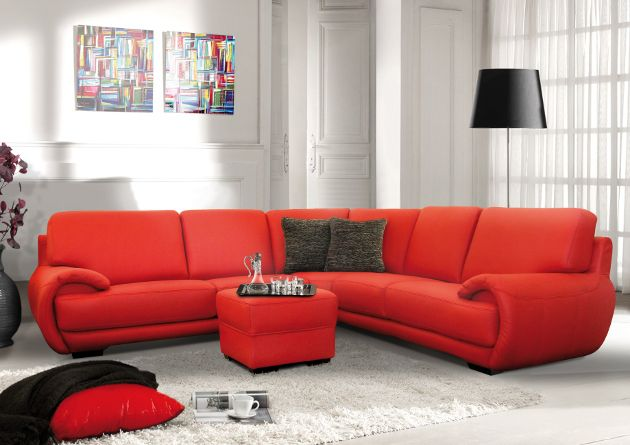 Red Sofa White Rug Colorful Wall Decor Living Room Red