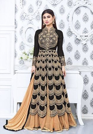 Mouni Roy In Black Faux Georgette Achkan Style Salwar Kameez #collarneck #Style #sale #dress #Salwar #Kameez #nikvik #usa #designer #australia #canada #suits #collar