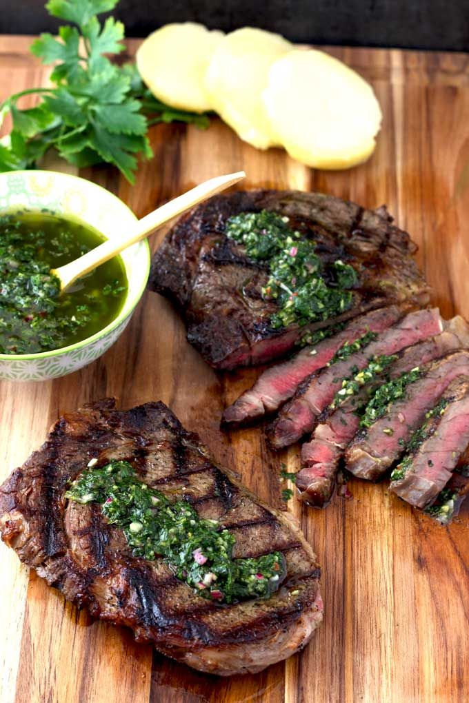 grilled rib eye steaks with chimichurri sauce perfectly grilled rib ...