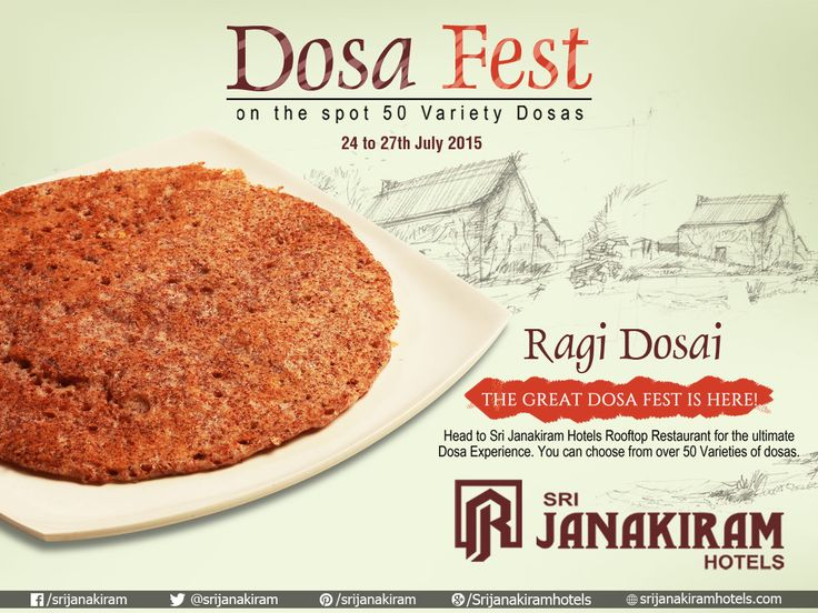 Delicious & healthy Ragi Dosa filled with full of nutrition! Taste the crispy dosa at #SrijanakiramHotels from 24th to 27th July at #Rooftop_Restaurant #DosaFest #DosaFestival #DosaMela #Carnival