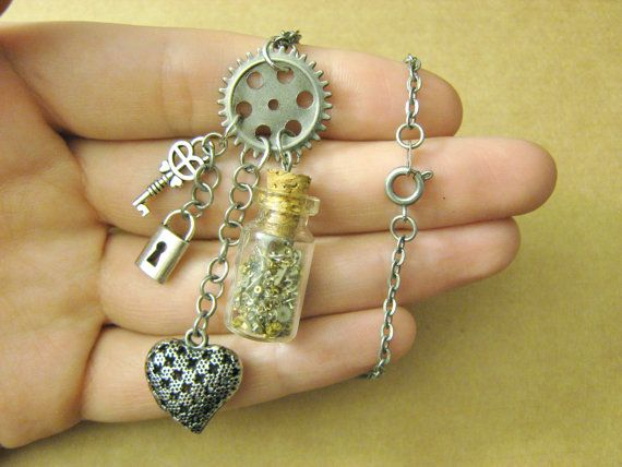 SILVER STEAMPUNK NECKLACE // by RainbowMoonShop on Etsy