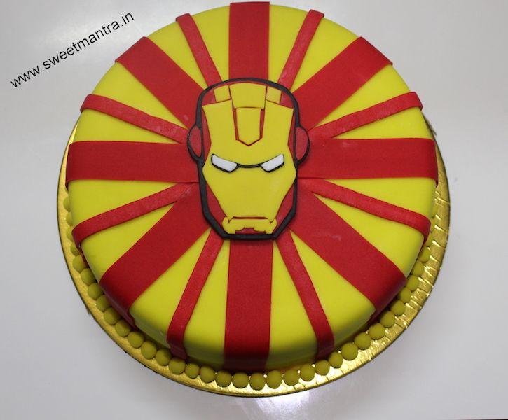 Iron Man theme customized eggless small designer birthday cake for boyfriend at Pune