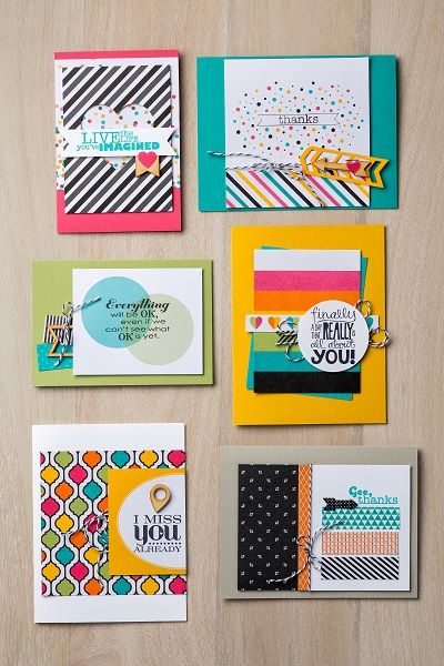 Cards made with Everyday Adventure Project Life kit and Really Good Greetings stamp set
