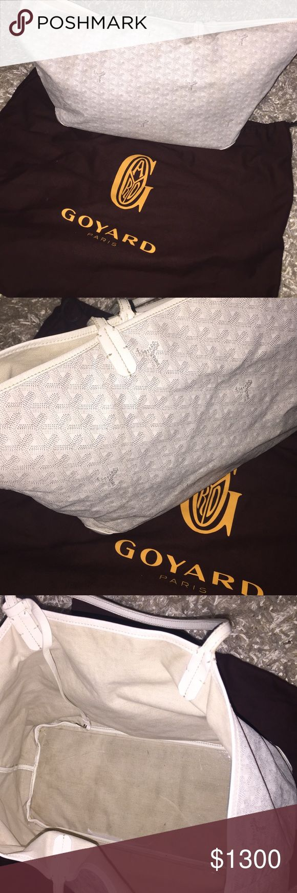 Goyard St. Louis GM tote in white Authentic GM Goyard tote originally purchased at Barneys. Used a few times but in excellent condition. There is NO pochette attached. Only the tote will come with your purchase. There is also a base shaper I'll send you with the bag 🙂 (for free). Open to selling through p a y p a l Goyard Bags Totes