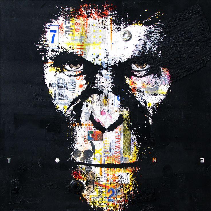"""CÉSAR.Technique mixte sur toile. 122 x 122 cm / Mixed media on canvas. 48'' x 48"""". Octobre 2014, october. Artiste-peintre: Tone. www.t-pakap.net"""