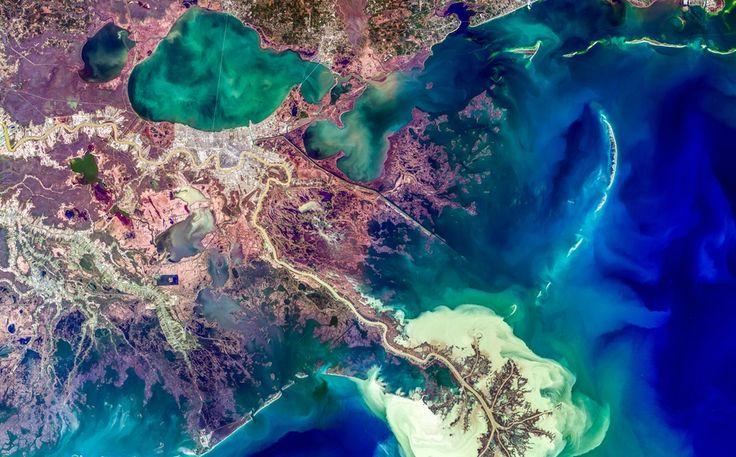 Mississippi Nehri'nin deltası, Satellite Earth Art. Anları Yandex.Görsel'de yakalayın.