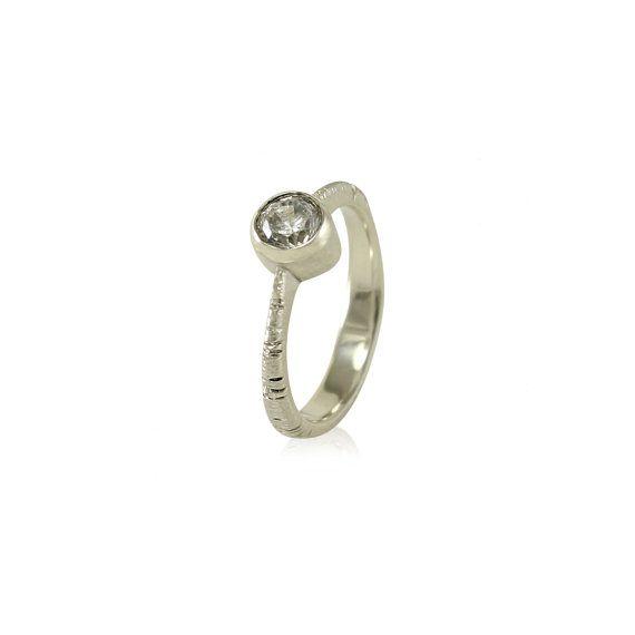 Aspen Tree Bark Bezel Engagement Ring  Moissanite by MetalWendler