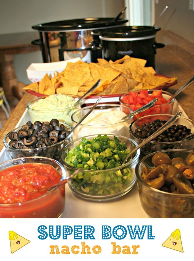 What is better than a Nacho Bar! Serve up everyone's favourite toppings! #SuperBowl