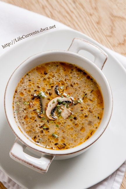 Homemade Mushroom Soup ~ This vegetarian soup is filled with earthy, meaty mushrooms accented by herby thyme. Definitely a keeper! ~ from Life Currents