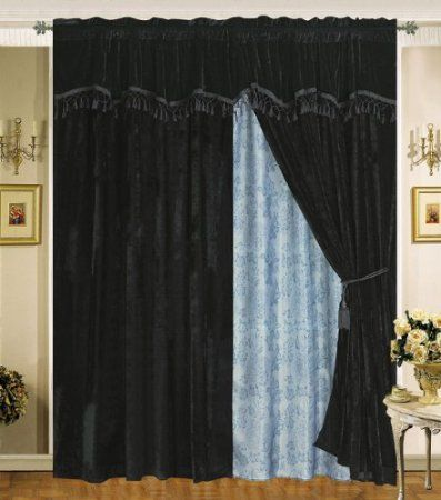 Amazon Com Velvet Black Curtain Set W Valance Sheer