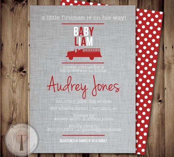 Fireman BABY SHOWER Invitation, Fire fighter shower, fireman, firemen, boy baby shower, firefighter baby shower invitation, printable invite