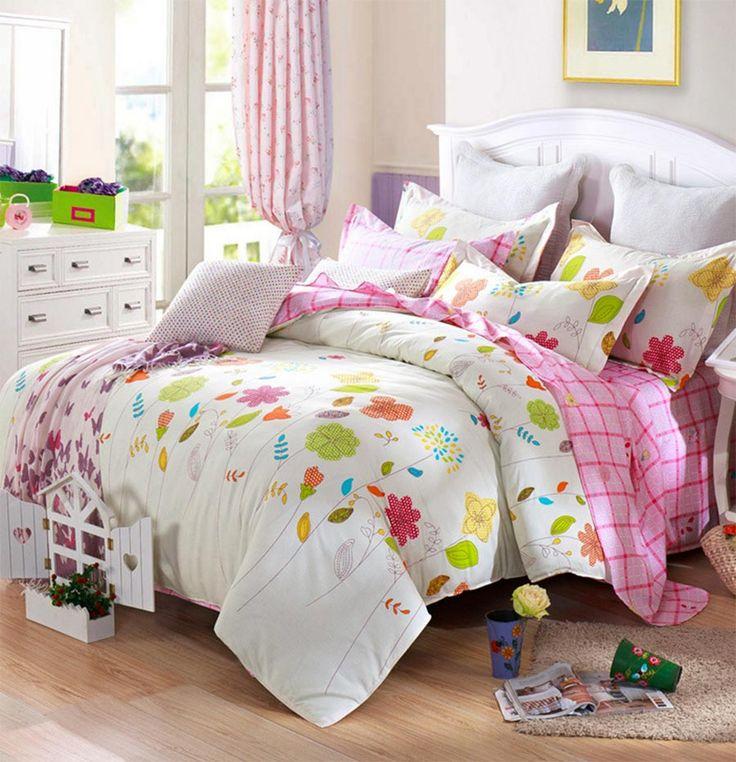 Симпатичные красочные клумба установить девочка подросток взрослых, 100% хлопок полный королева европейский домашний текстиль плоские листы наволочка чехол
