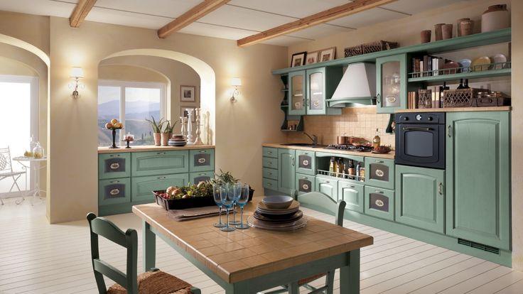Madeleine rustikální kuchyň ve světle zeleném odstínu / rustic kitchen