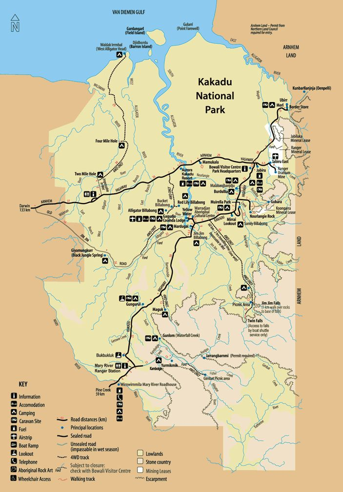 Kakadu National Park - camping map