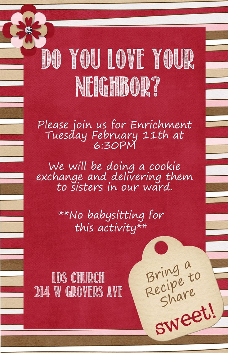 Cactus View Relief Society: February Enrichment - Do You Love Your Neighbor?