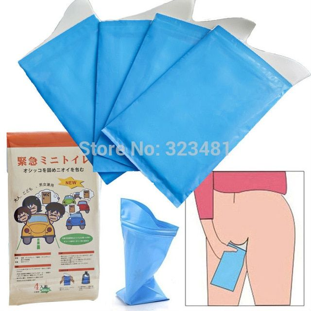 4Pcs Outdoor Disposable Urinal Toilet Bag Male Female Portable Emergency Pee