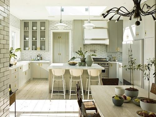 White washed: Bright Kitchens, Dreams Kitchens, Wood Floors Colors, Kitchens White, Grey Cabinets, White Subway Tile, Gold Kitchens Hardware, Dark Grout, White Kitchens