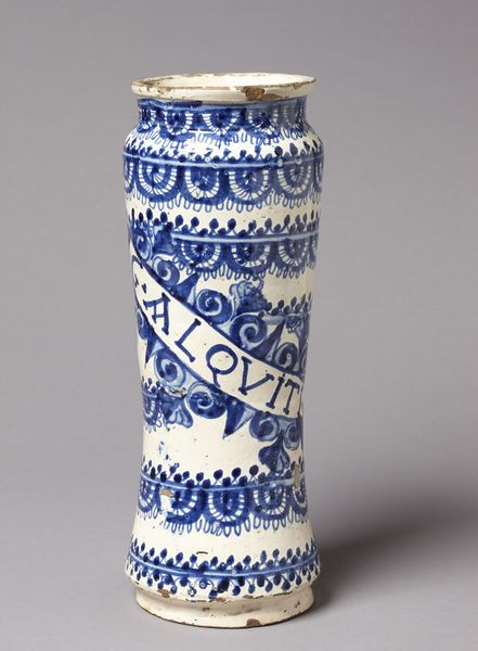 Drug vase Place of origin: Portugal (made) Date: 16th century (made) Artist/Maker: unknown (production) Materials and Techniques: Tin-glazed earthenware painted in blue Museum number: CIRC.224-1910