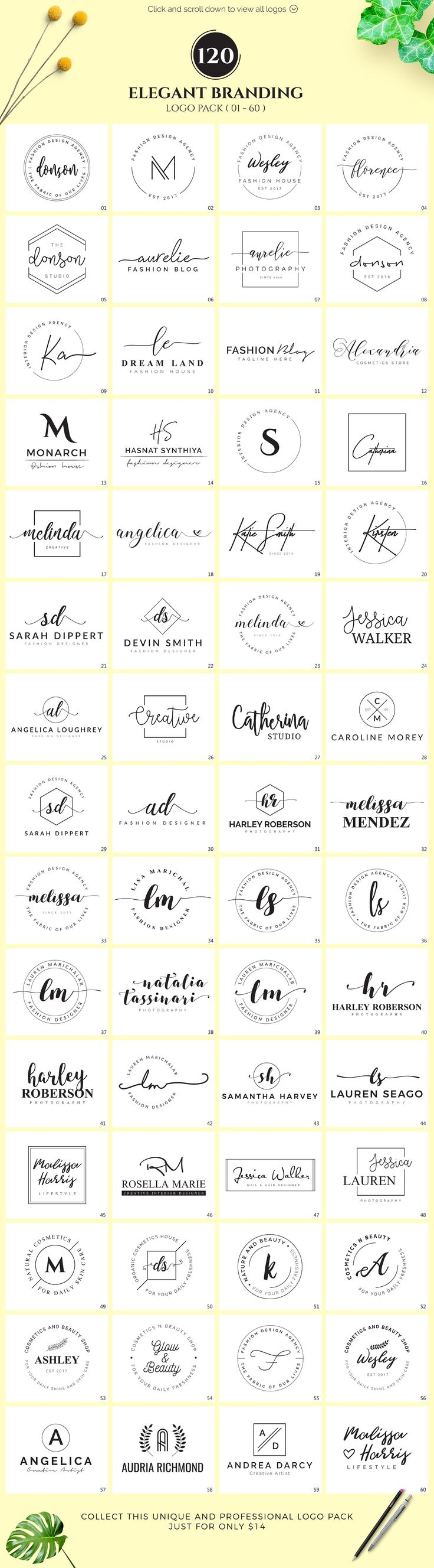 120 Elegant Branding Logo Pack by XpertgraphicD on @creativemarket Creative logo design inspiration, perfect for a modern business branding with perfect font and typography selection. Take some ideas or use this feminine, elegant, minimal, simple and also hipster set.