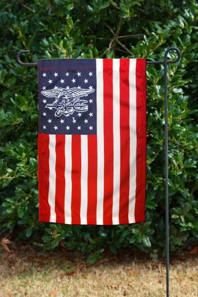 "Garden Flag American Flag Red/White/Blue with Navy SEAL Trident in the Stars Dimensions: 12"" W x 18"" H *Flagpole Not Included* Stock #FLAGAFT"