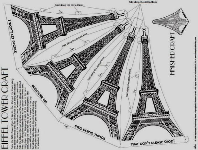 Build Your Own Easy-To-Build Eiffel Tower Paper Model - by GPH - == -  You need only one sheet of paper to build this beautiful paper model of the Eiffel Tower, offered by GPH website.