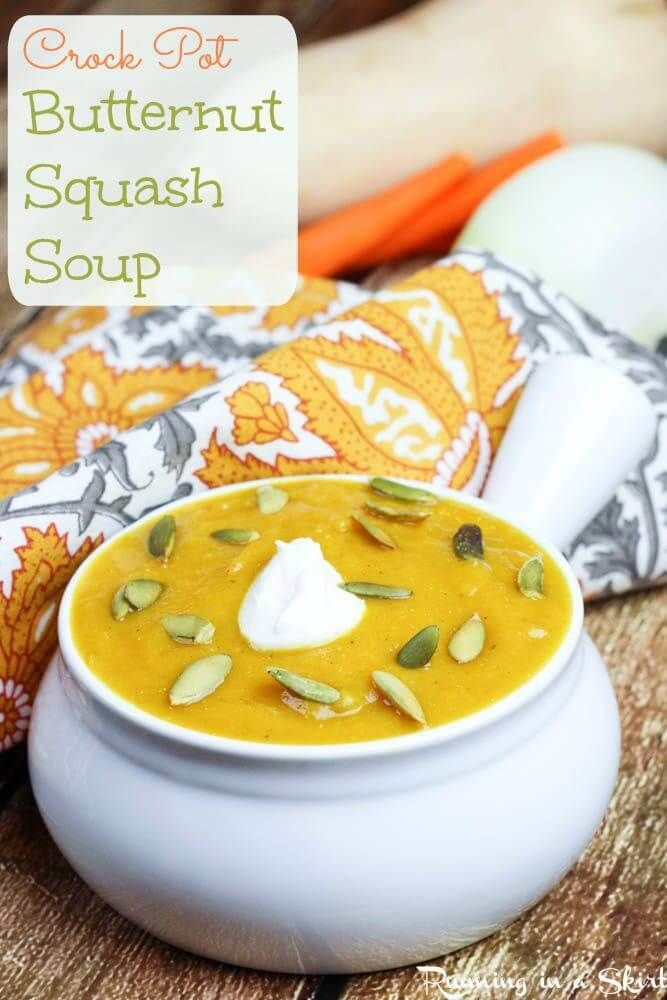 Crock Pot Butternut Squash Soup recipe.  A healthy, vegetarian comfort foods recipe for fall!  Topped with pumpkin seeds and greek yogurt and packed with hidden veggies and an apple!  Includes step by step instructions on how to cut a buternutt squash without hurting your fingers | Running in a Skirt