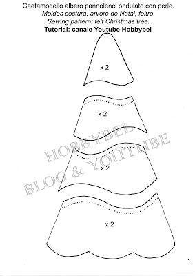 cartamodello albero di natale shabby chic con perle tutorial canale Hobbybel su YouTube