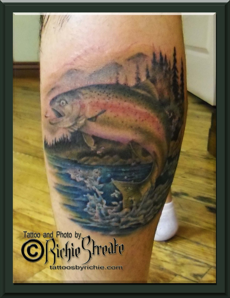 Trout tattoo animal tattoos by richie streate for Fishing tattoos designs