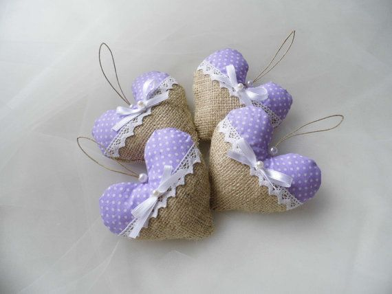 Lavender Wedding Wedding Favor Hearts by MelindasSewingCorner