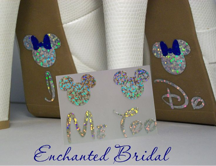 NEW Disney Inspired Minnie I Do and Me Too Shoe Stickers You Pick Color Sparkly Wedding Shoe Decals by EnchantedBridal on Etsy https://www.etsy.com/listing/124381165/new-disney-inspired-minnie-i-do-and-me