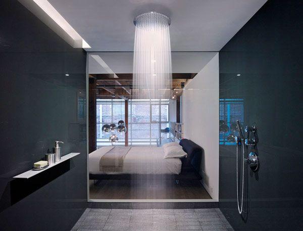 shower at a warehouse loft in SF: Showers, Rain Shower, Ideas, Dreams Houses, Shower Head, Showerhead, Interiors Design, Bathroom, Dreams Shower