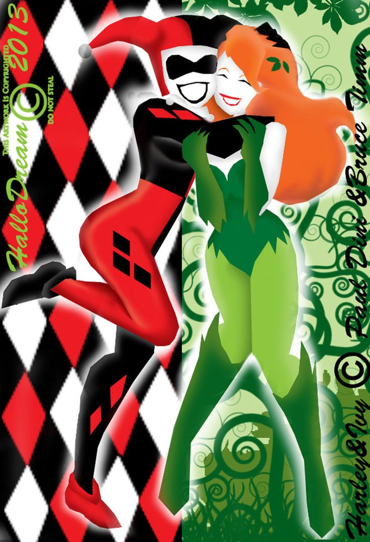 Harley Quinn and Poison Ivy | The Silhouettes of Harley Quinn and Poison Ivy by HalloDream