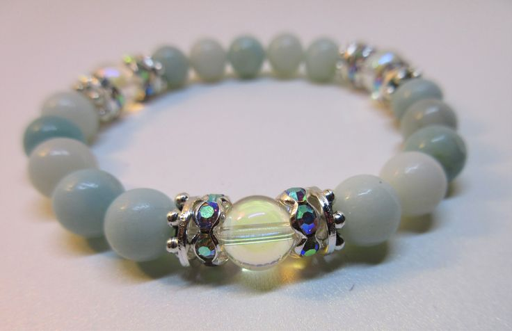 Amazonite Beaded Bracelet with Angel Aura Beads and Aurora Borealis Silver Spacers. Handmade from natural stones, healing bracelet for emotional balance.
