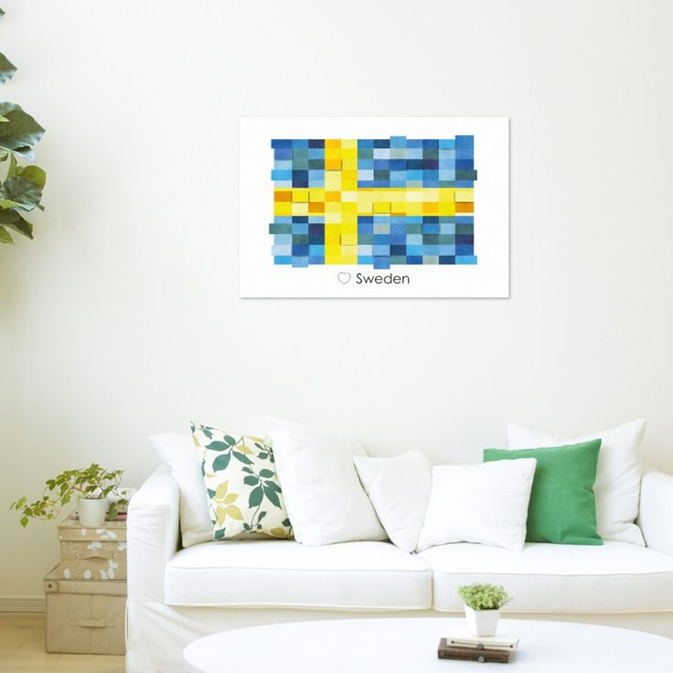Poster Print Wall art Sweden Flag Europe