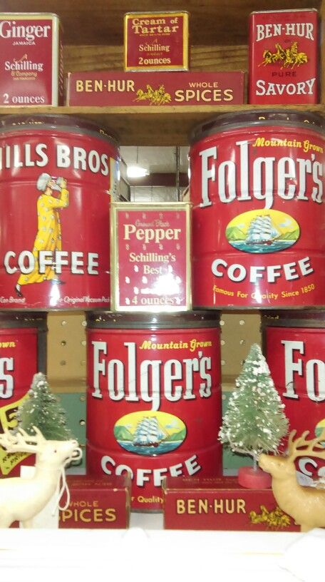Vintage coffee and spice tins