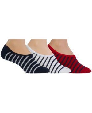 Polo Ralph Lauren Men's Big & Tall 3 Pack St. James Striped Socks - Navy/White/Red 13-16