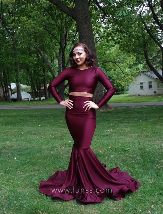 fe7e6ca13c7 Stretch plum two-piece mermaid long prom dress with a zipper closed back.  Jewel neckline