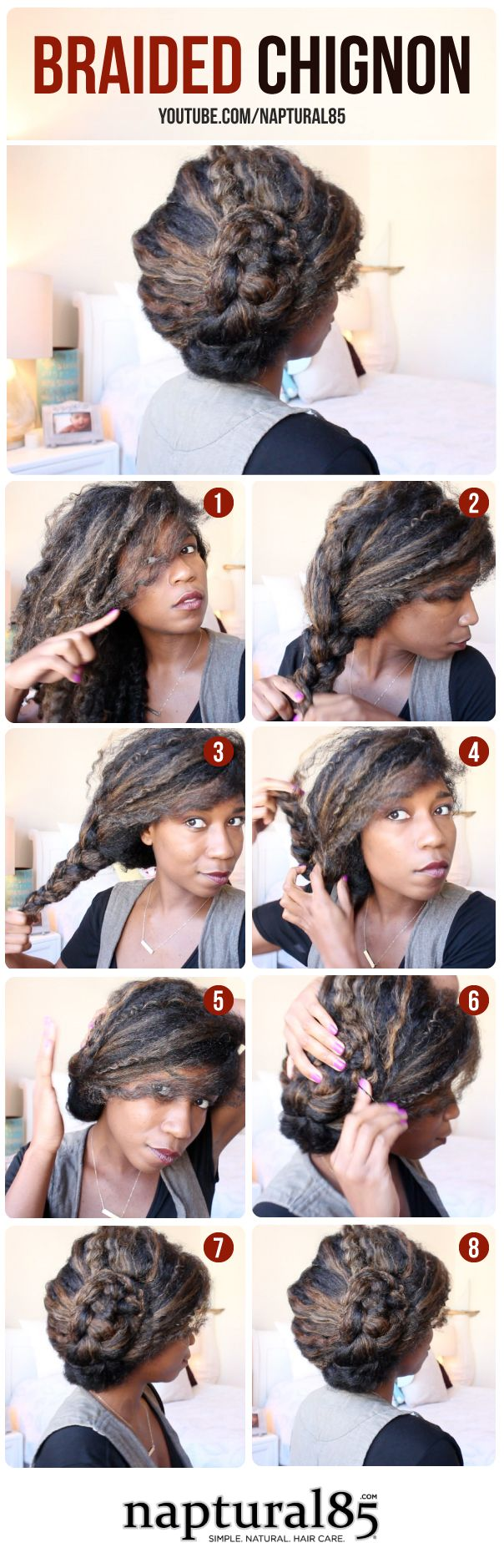 Natural Hairstyles by Naptural85 - Braided Chignon - Easy Hairstyle - Step By Step Tutorial