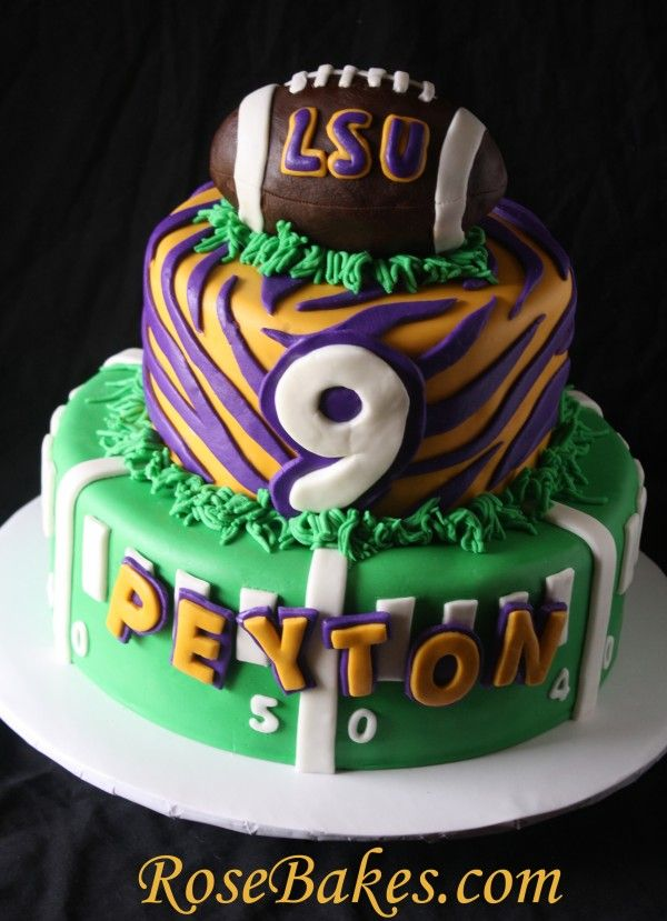 LSU Birthday Cake with Football