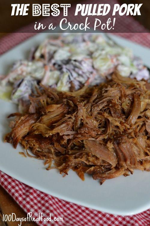 The Best Pulled Pork in a Crock Pot from 100 Days of #RealFood #crockpot - 3 lbs pork shoulder, honey