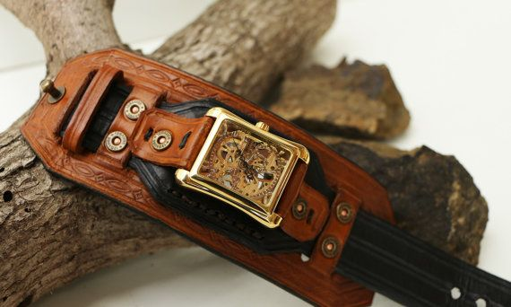 Leather Cuff Watch, Men's Wide Layered, Black and Saddle Tan Leather Cuff, Steampunk Rectangle Watch Face
