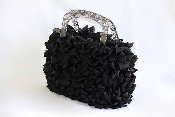 borsa fettuccia tulle nero manici plexiglas pizzo nero hand