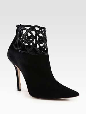 Oscar de la Renta Suede and Patent Leather Ankle Boots